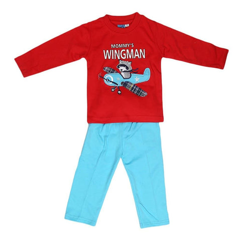 Newborn Boys Full Sleeves Suit - Red - test-store-for-chase-value