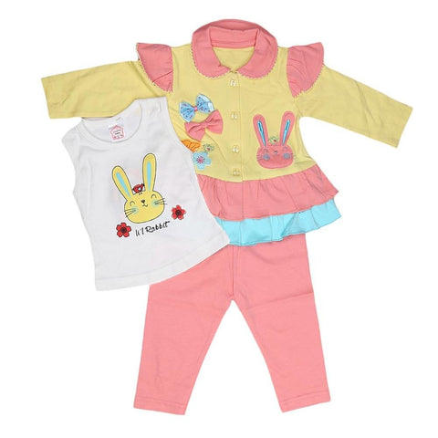 Newborn Girls Full Sleeves 3 Piece Suit - Yellow - test-store-for-chase-value