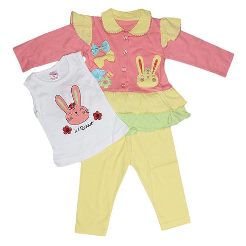Newborn Girls Full Sleeves 3 Piece Suit - Peach - test-store-for-chase-value