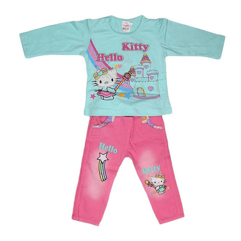 Newborn Girls Full Slevees Suit - Cyan - test-store-for-chase-value