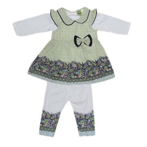 Newborn Girls Full Sleeves Suit - Green - test-store-for-chase-value