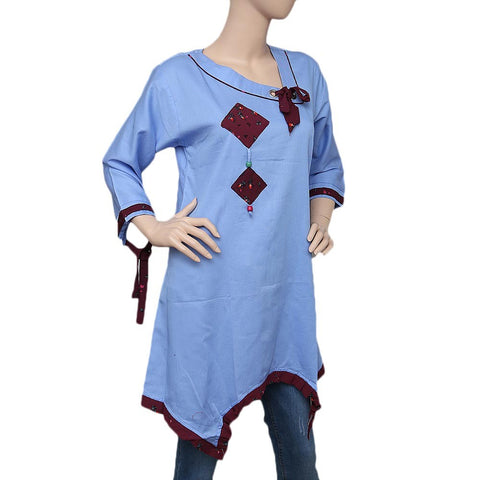 Women's Cross V-Neck Kurti - Light Blue - test-store-for-chase-value