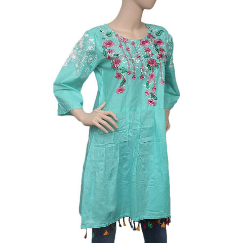 Women's Embroidered Peplum Kurti - Cyan - test-store-for-chase-value