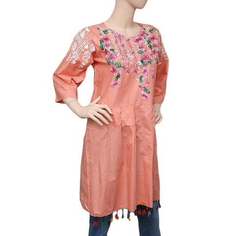 Women's Embroidered Peplum Kurti - Peach - test-store-for-chase-value