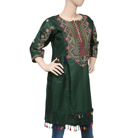 Women's Embroidered Peplum Kurti - Green - test-store-for-chase-value