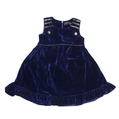 Girls Eminent Velvet Frock - Navy Blue - Navy/Blue - test-store-for-chase-value