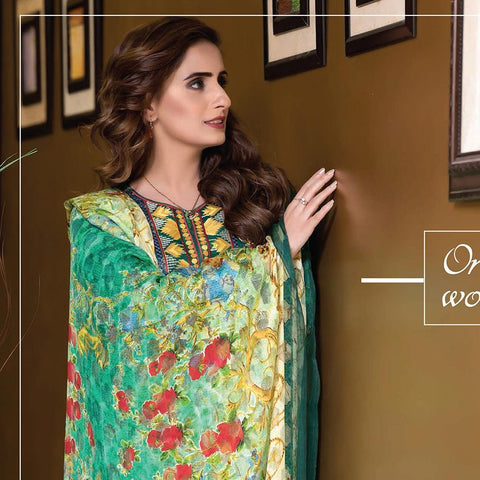 Rana Arts Camellias Viscose Embroidered 3 pcs Suit - A YR-202 - test-store-for-chase-value