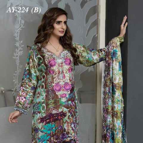 Rana Arts Camellias Viscose Embroidered 3 pcs Suit - B AY-224 - test-store-for-chase-value