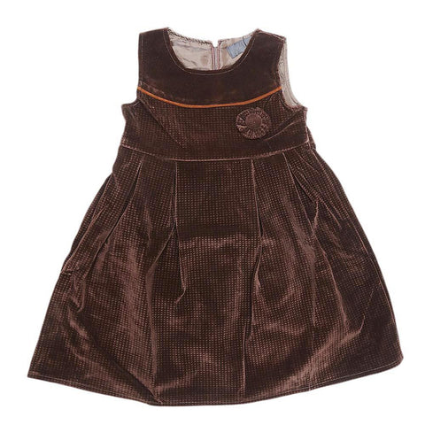 Girls Eminent Velvet Frock - Coffee - test-store-for-chase-value