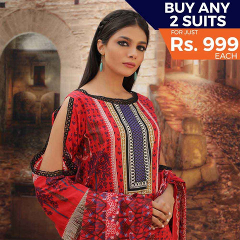 Rangreza Printed Cotton 3 Piece Un-Stitched Suit - 16