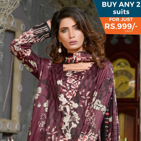 Three Star Printed Lawn 3 Piece Un-Stitched Suit Vol 1 - 9 A