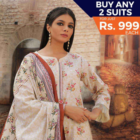 Rangreza Printed Cotton 3 Piece Un-Stitched Suit - 17