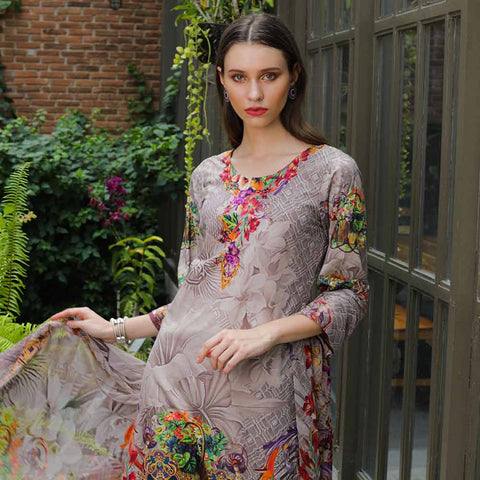 Salina Digital Printed Cotton Satin 3 Piece Un-Stitched Suit - 17