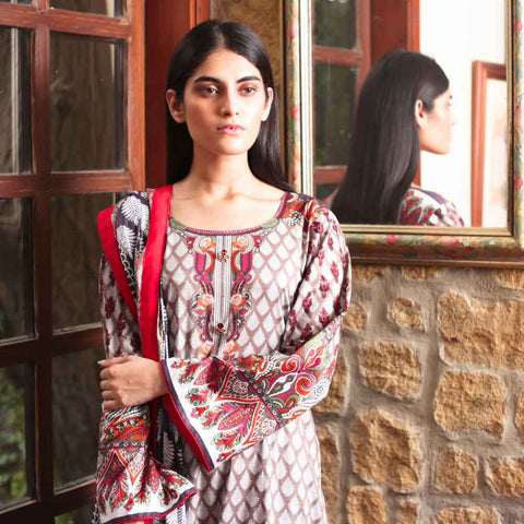 Cotrina Printed Cotton 3 Piece Un-Stitched Suit - 17