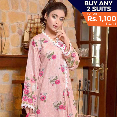 Libas Printed Lawn 3 Piece Un-Stitched Suit Vol 1 - 5 A