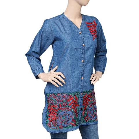 Women's Embroidered Denim Kurti - Light Blue - test-store-for-chase-value