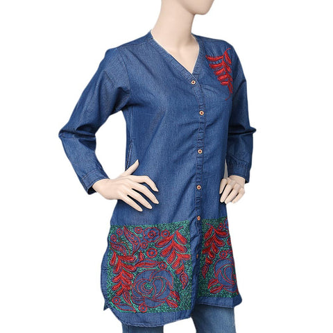 Women's Embroidered Denim Kurti - Blue - test-store-for-chase-value