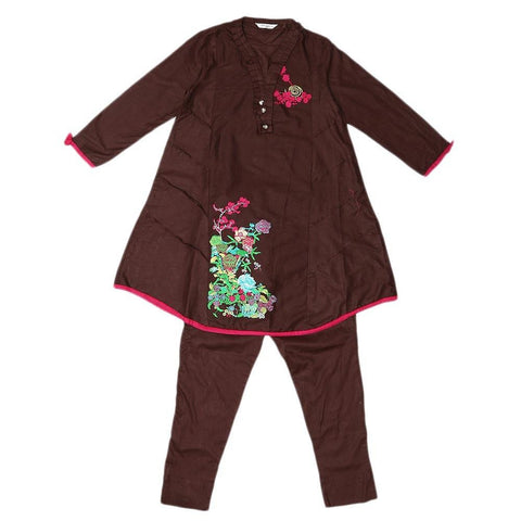 Girls Embroidered 2 Piece Suit - Brown - test-store-for-chase-value