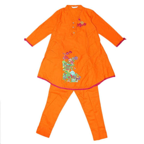 Girls Embroidered 2 Piece Suit - Orange - test-store-for-chase-value