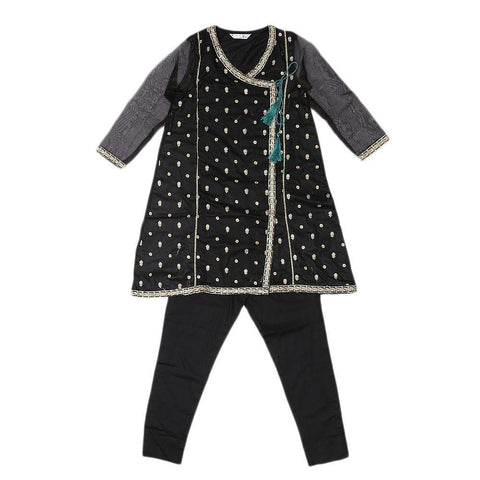 Girls Embroidered 2 Piece Suit - Black - test-store-for-chase-value