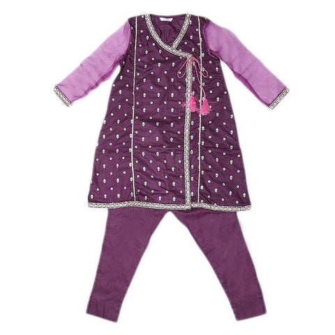 Girls Embroidered 2 Piece Suit - Purple - test-store-for-chase-value