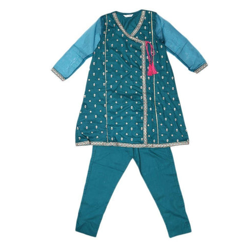 Girls Embroidered 2 Piece Suit - Sea Green - test-store-for-chase-value