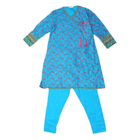 Girls Embroidered 2 Piece Suit - Blue - test-store-for-chase-value