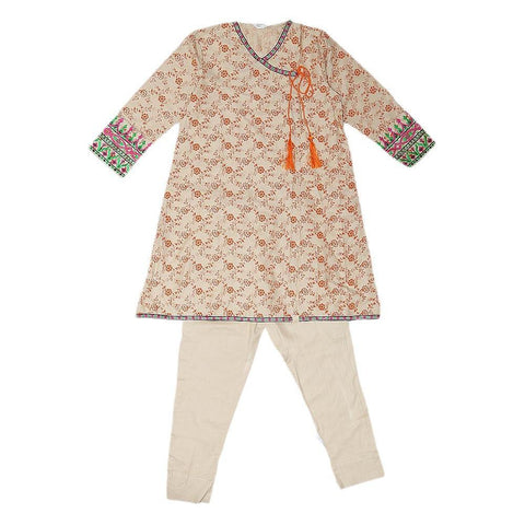 Girls Embroidered 2 Piece Suit - Fawn - test-store-for-chase-value