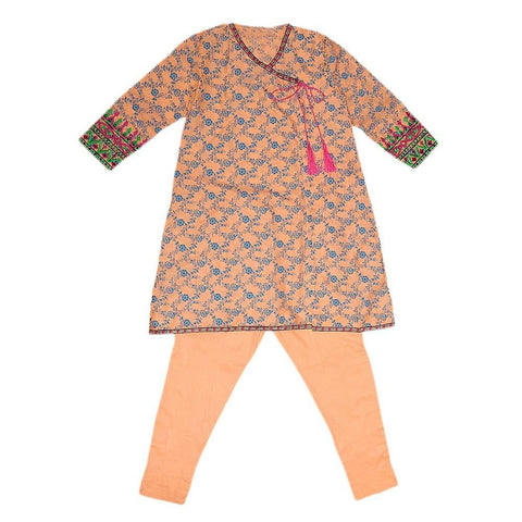 Girls Embroidered 2 Piece Suit - Peach - test-store-for-chase-value