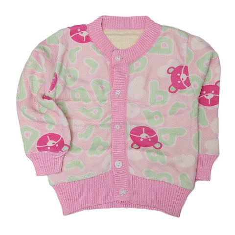 Girls Printed Full Sleeves Sweater - Pink - test-store-for-chase-value