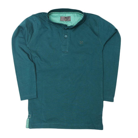 Boys Eminent Full Sleeves T-Shirt - Dark Green - test-store-for-chase-value
