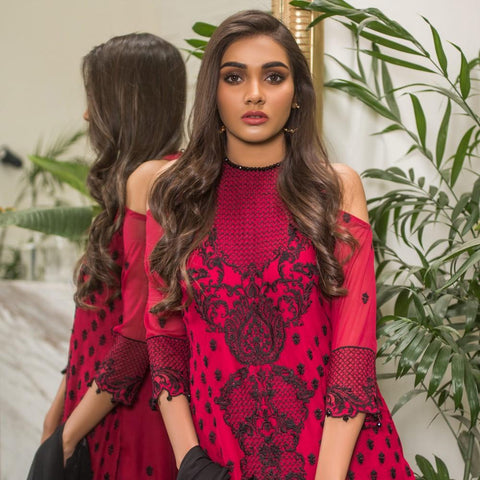 Mahrukh Velvet & Chiffon Luxury Embroidered 3 Piece Suit Vol-2 - 01 - test-store-for-chase-value
