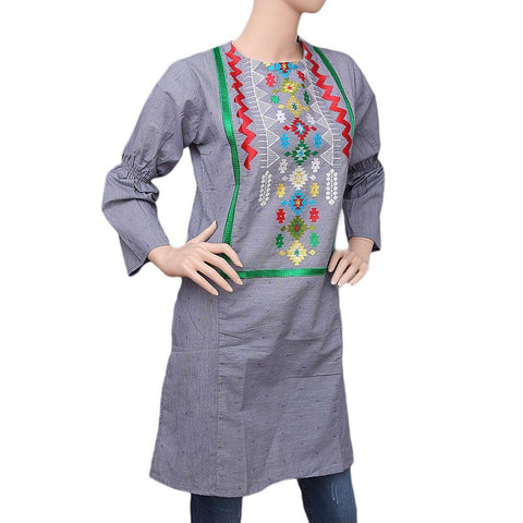 Women's Embroidered Kurti - Grey - test-store-for-chase-value