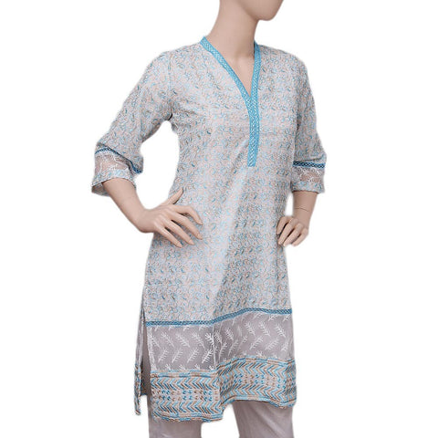 Women's Embroidered Fancy Kurti - Light Blue - test-store-for-chase-value