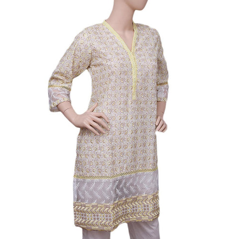 Women's Embroidered Fancy Kurti - Yellow - test-store-for-chase-value