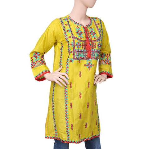 Women's Embroidered Kurti - Yellow - test-store-for-chase-value