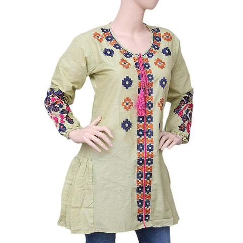 Women's Embroidered Kurti - Light Green - test-store-for-chase-value