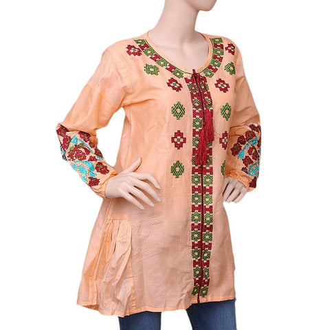 Women's Embroidered Kurti - Peach - test-store-for-chase-value