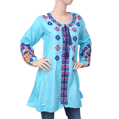 Women's Embroidered Kurti - Sky Blue - test-store-for-chase-value
