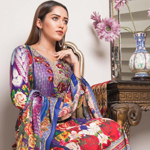 Rana Arts Winter Embroidered Suit With Shawl - AY-04 - test-store-for-chase-value