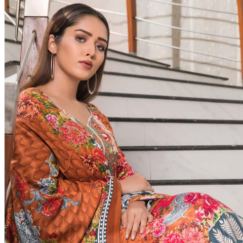 Rana Arts Winter Embroidered Suit With Shawl - EKR-14-A - test-store-for-chase-value