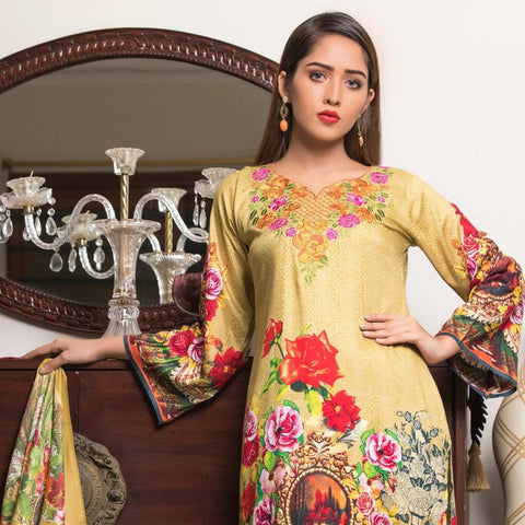 Rana Arts Winter Embroidered Suit With Shawl - AY-07-B - test-store-for-chase-value