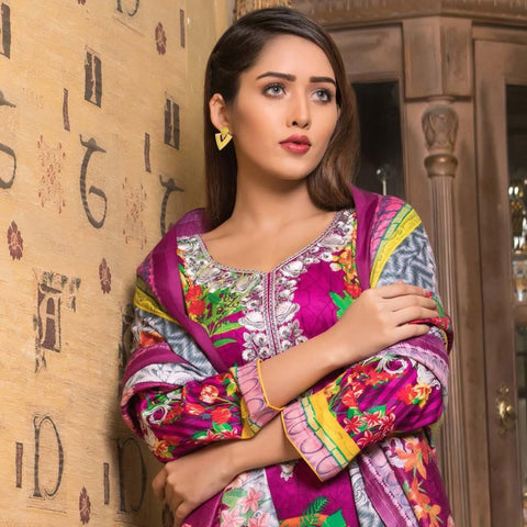 Rana Arts Winter Embroidered Suit With Shawl - EKR-05 - test-store-for-chase-value