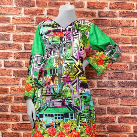 Eminent Digital Printed Khaddar Unstitched Winter Kurti - Green City - test-store-for-chase-value