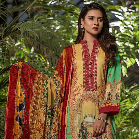 Maira Ahsan Digital Linen Palachi Embroidered 3 Piece Unstitched Suit - 13 - test-store-for-chase-value