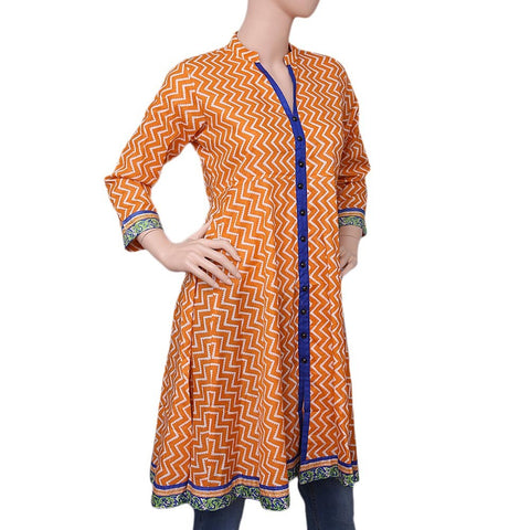 Women's Printed Cotton Kurti - Orange - test-store-for-chase-value