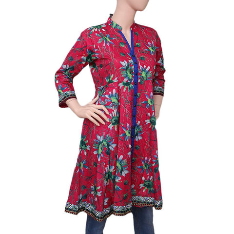 Women's Printed Cotton Kurti - Pink - test-store-for-chase-value