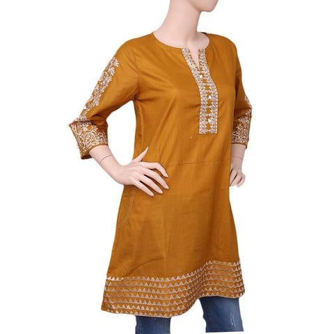 Women's Embroidered Cotton Kurti - Mustard - test-store-for-chase-value