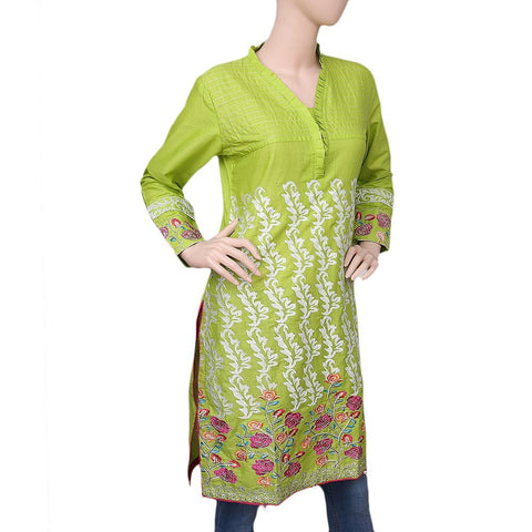 Women's Embroidered Cotton Kurti - Light Green - test-store-for-chase-value