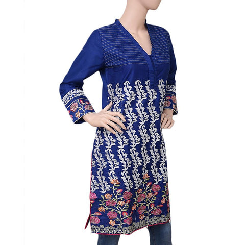 Women's Embroidered Cotton Kurti - Blue - test-store-for-chase-value